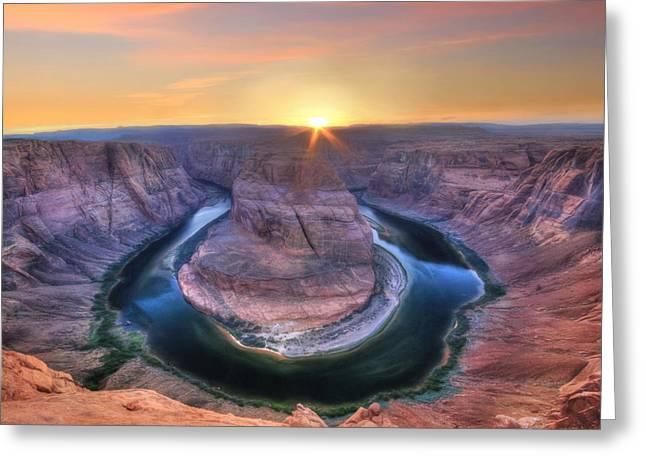 Horseshoe Bend Sunset Greeting Card by Lori Deiter