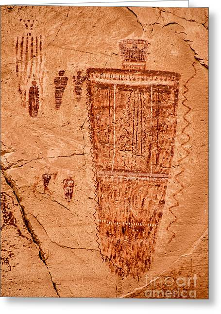 Pictograph Greeting Cards - Horseshoe Canyon Great Gallery Figure 7 Pictographs Greeting Card by Gary Whitton