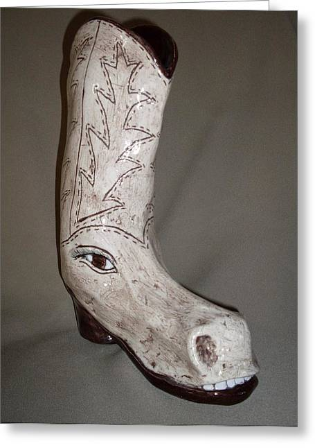 Boots Ceramics Greeting Cards - Horseshoe Greeting Card by Sally Van Driest