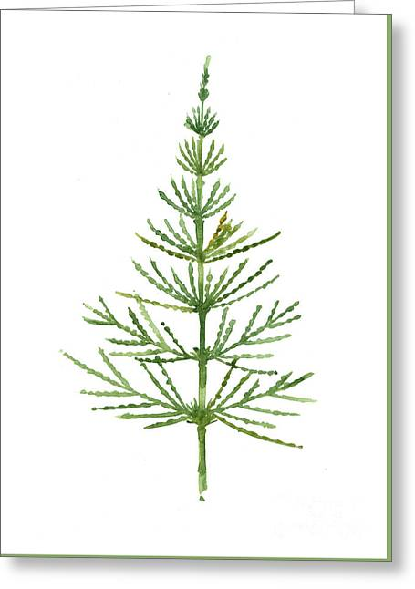 Horsetail Watercolor Green Poster Greeting Card by Joanna Szmerdt