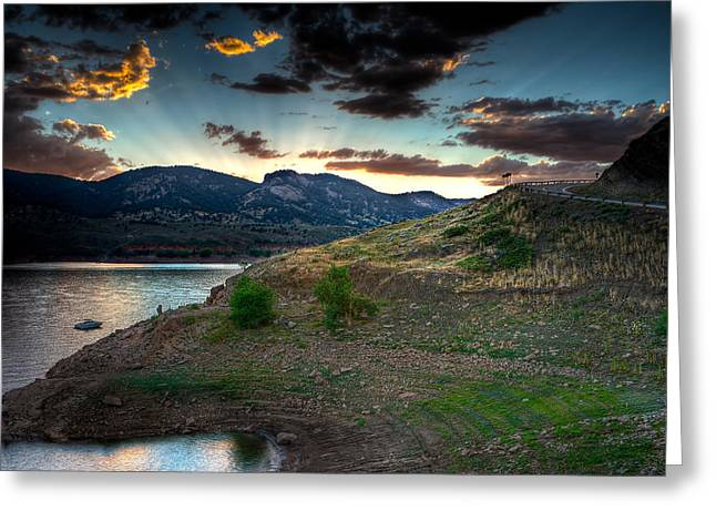 Horsetooth Reservior at Sunset Greeting Card by James O Thompson