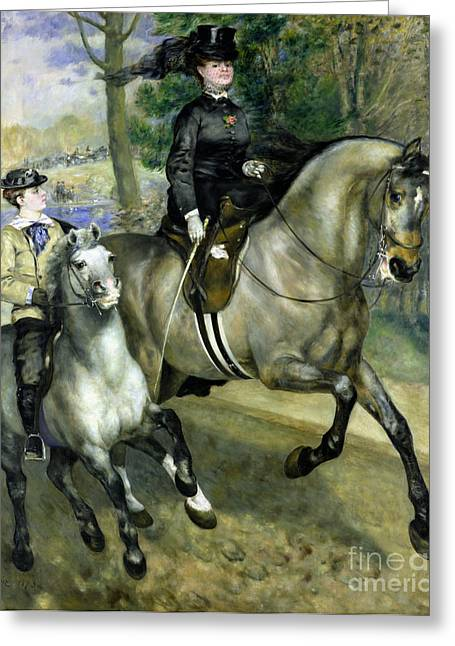 Bois Greeting Cards - Horsewoman in the Bois de Boulogne Greeting Card by Pierre Auguste Renoir
