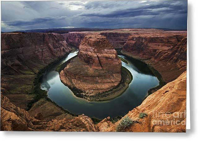 Dark Skies Greeting Cards - Horseshoe Bend Arizona 2 Greeting Card by Bob Christopher