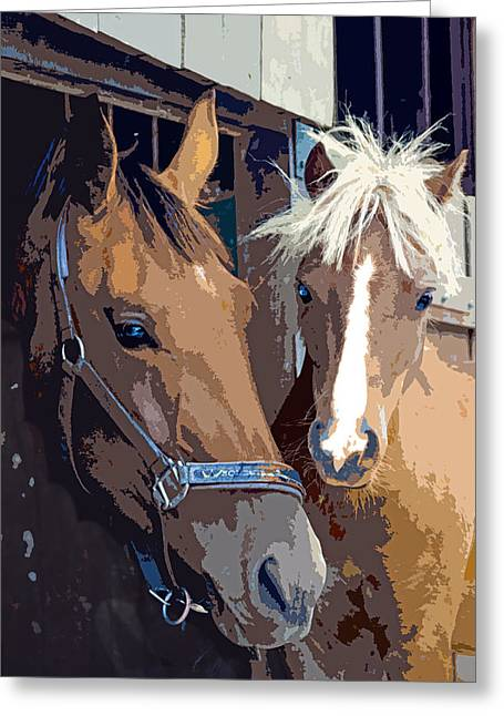 Silk Screen Greeting Cards - Horsing Around in the Stable Greeting Card by Elaine Plesser