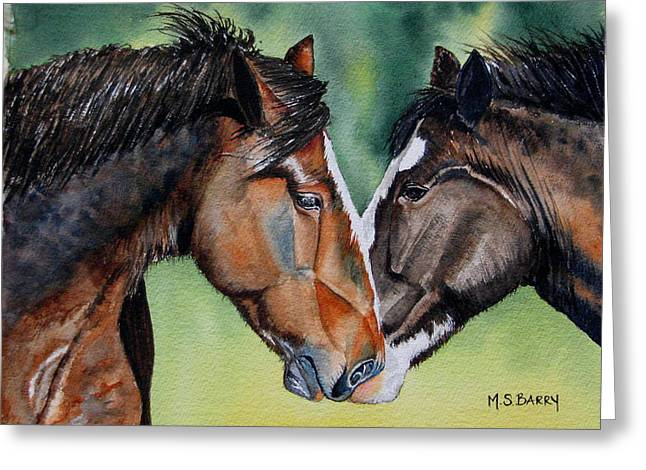 Two Horses Greeting Cards - Horsing Around Greeting Card by Maria Barry
