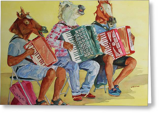 Horsing Around With Accordions Greeting Card by Jenny Armitage