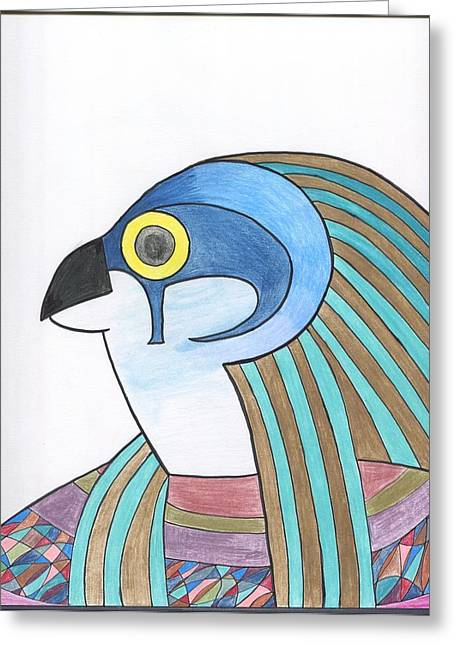 Horus Drawings Greeting Cards - Horus Greeting Card by Camilla Gonzalez