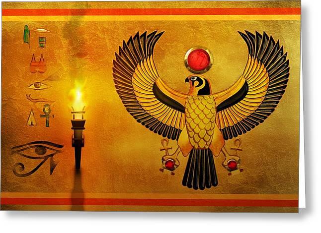 Horus Falcon God Greeting Card by John Wills