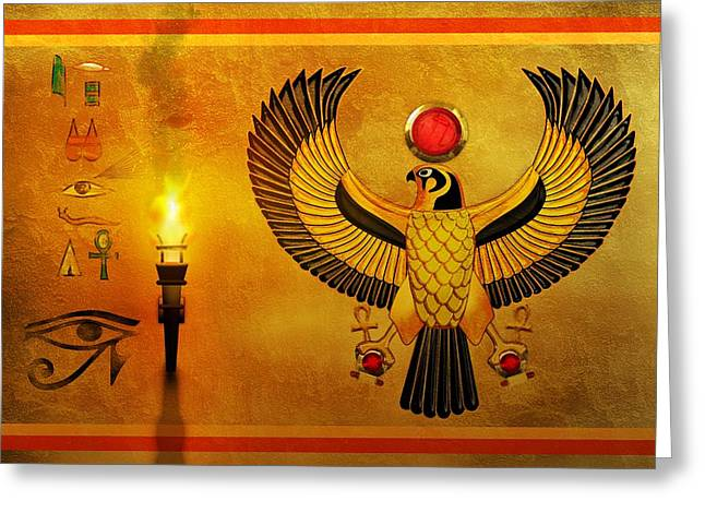 Horus Greeting Cards - Horus Falcon God Greeting Card by John Wills
