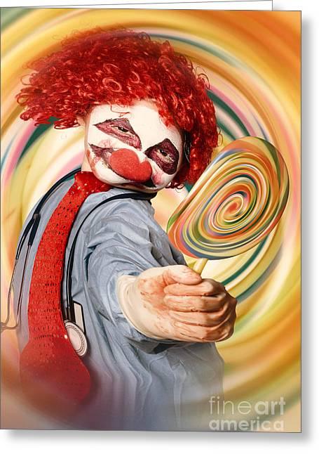 Vertigo Greeting Cards - Hospital clown offering psychedelic lolly hypnosis Greeting Card by Ryan Jorgensen