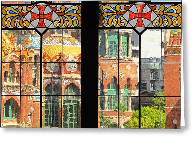 Pau Spanish Greeting Cards - Hospital de Sant Pau Through Stained Glass Greeting Card by Dave Mills