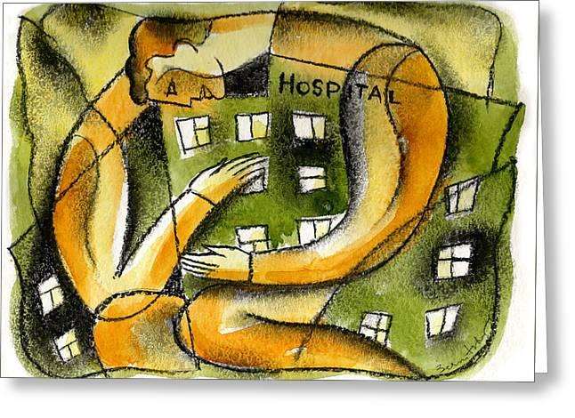 Hospital Greeting Card by Leon Zernitsky