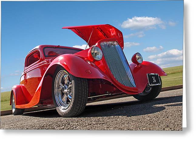 Red Street Rod Greeting Cards - Hot 34 Greeting Card by Gill Billington