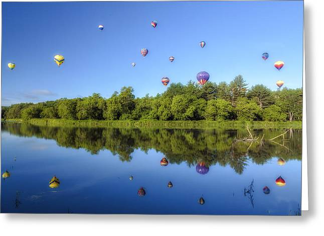 Many Greeting Cards - Hot Air Balloon Festival Reflections Greeting Card by John Vose