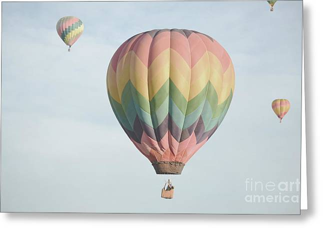 Hot Air Balloon Whimsical Sky Greeting Card by Andrea Hazel Ihlefeld