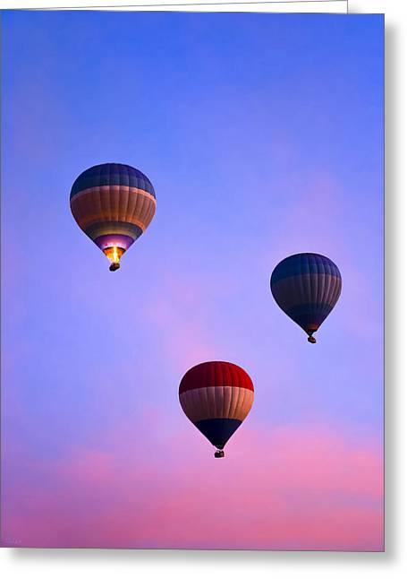 Three Hot Air Balloons Greeting Cards - Hot Air Balloons at Dawn Greeting Card by Mark Tisdale