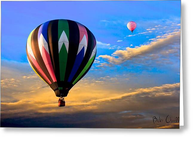 Hot Air Balloons at Sunset Greeting Card by Bob Orsillo