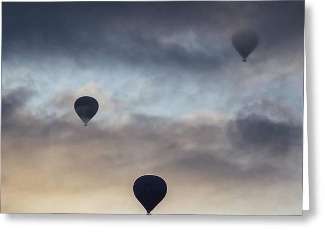 Three Hot Air Balloons Greeting Cards - Hot Air Balloons Greeting Card by Joana Kruse