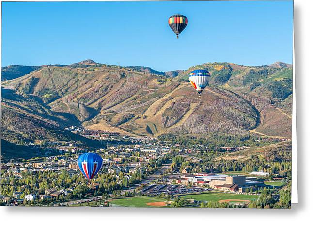 Ski Resort Greeting Cards - Hot Air Balloons Over Park City in Autumn Greeting Card by James Udall