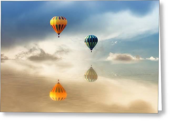 Hot Air Balloons Water Reflections Greeting Card by Tracie Kaska