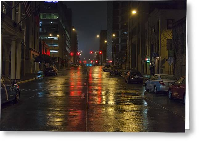 Raining Greeting Cards - Hot Austin Greeting Card by Van Sutherland