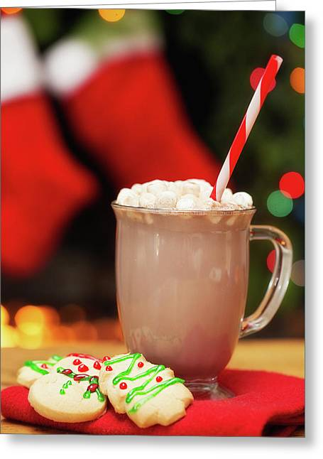 Hot Cocoa And Christmas Cookies Greeting Card by Susan Schmitz