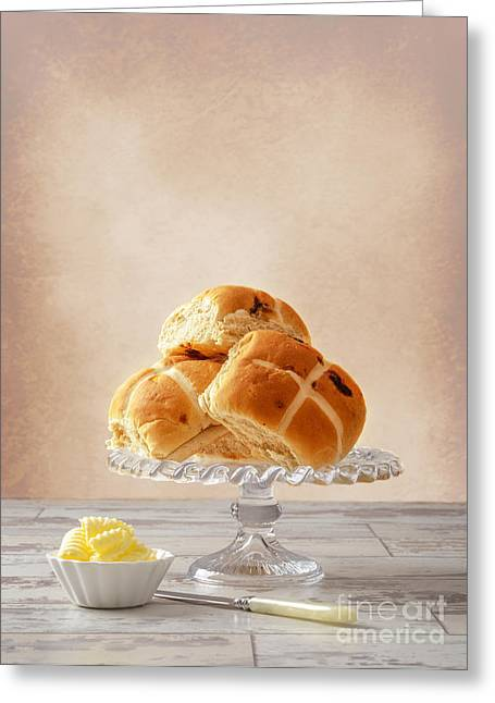 Bun Photographs Greeting Cards - Hot Cross Buns With Butter Greeting Card by Amanda And Christopher Elwell