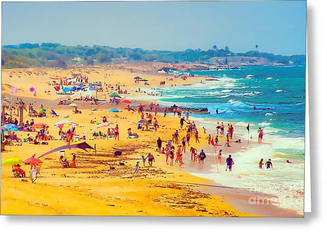 Panoramic Ocean Greeting Cards - Hot day near the sea Greeting Card by Benjamin Gelman