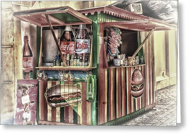 Hot Dog Stand Greeting Cards - Hot Dog Anyone Greeting Card by Arnie Goldstein