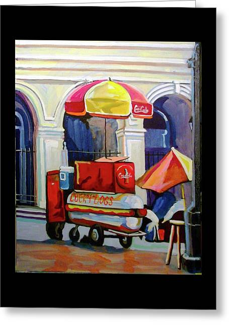 Hot Dog Cart Greeting Card by Tica McGarity