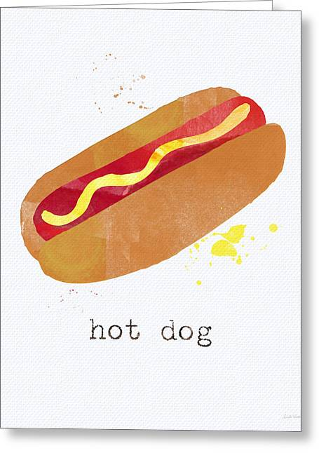 Yellow Brown Greeting Cards - Hot Dog Greeting Card by Linda Woods