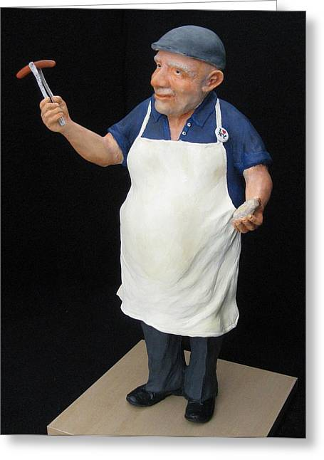 Stoneware Sculptures Greeting Cards - Hot Dog Man Greeting Card by Scott Russo