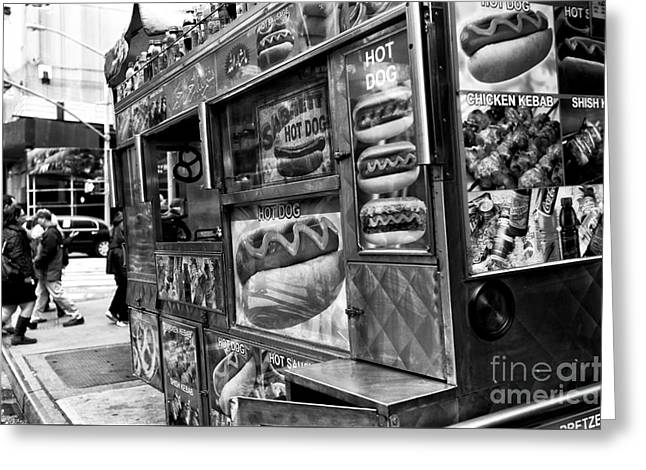 In The Corner Greeting Cards - Hot Dogs on the Corner in NYC mono Greeting Card by John Rizzuto
