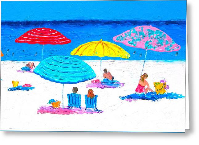 Beach Umbrellas Greeting Cards - Hot Lazy Day -  Beach Painting Greeting Card by Jan Matson