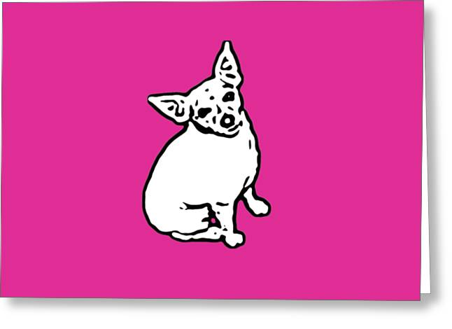 Puppies Digital Greeting Cards - Hot Pink Buddy Greeting Card by Heather Joyce Morrill