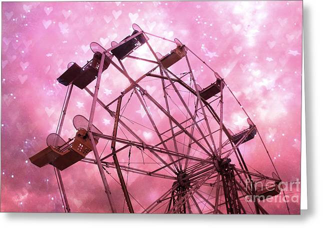 Baby Pink Greeting Cards - Hot Pink Carnival Ferris Wheel Stars and Hearts - Baby Girl Nursery Hot Pink Ferris Wheel Decor Greeting Card by Kathy Fornal