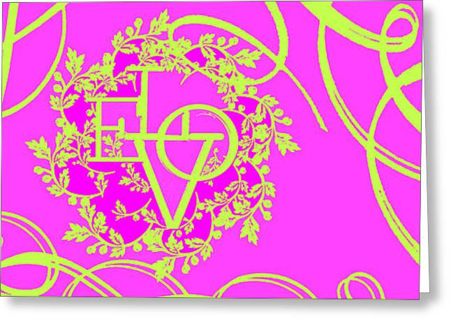 Shower Curtain Greeting Cards - Hot Pink Love Scrolls Greeting Card by Anahi DeCanio - ArtyZen Studios