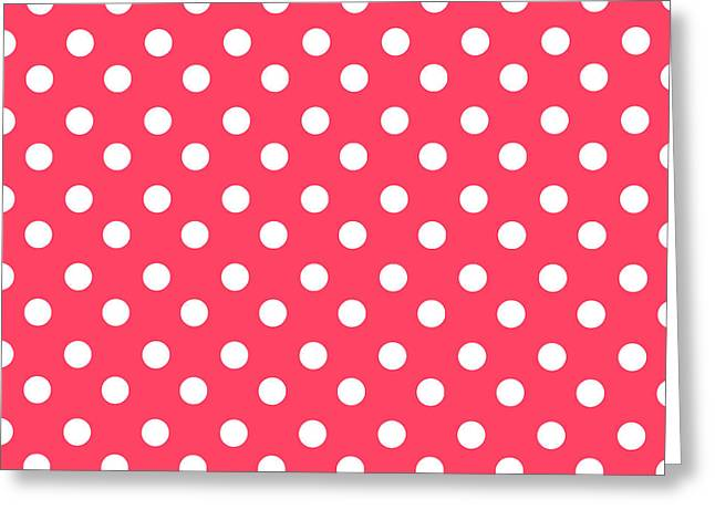 Awesome Tapestries - Textiles Greeting Cards - Hot Pink Polka Dots Greeting Card by Bimbys Collections