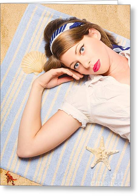1950s Portraits Greeting Cards - Hot retro pinup girl lying on beach in Australia Greeting Card by Ryan Jorgensen