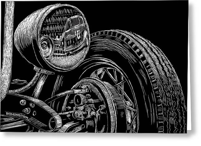 Lowbrow Greeting Cards - Hot Rod Bob Greeting Card by Bomonster