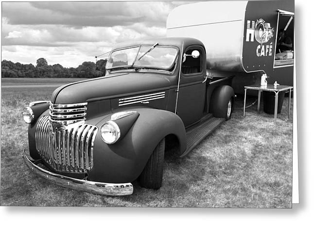 Chevrolet Pickup Truck Greeting Cards - Hot Rod Cafe in Black and White Greeting Card by Gill Billington