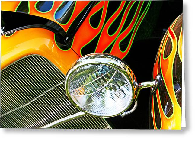 Hot Rodder Greeting Cards - Hot Rod Flames Greeting Card by Heather Allen