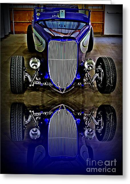 Chrome Grill Greeting Cards - Hot Rod Reflection Greeting Card by Perry Webster