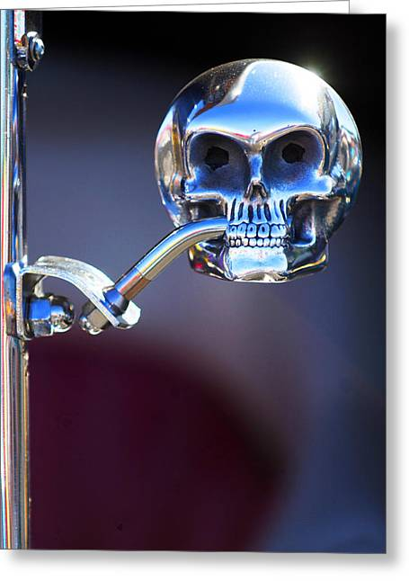 Hot Rod Photography Greeting Cards - Hot Rod Skull Rear View Mirror Greeting Card by Jill Reger