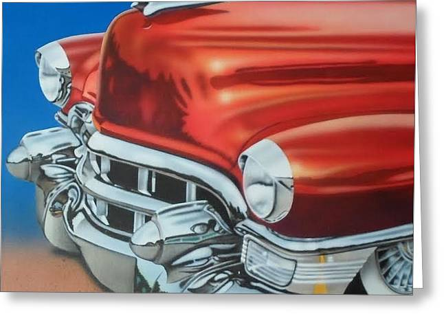 Caddy Paintings Greeting Cards - Hot Rodder Caddy Greeting Card by Brett Sauce