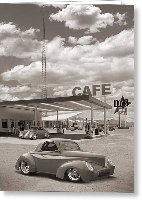 Hot Rods At Roy's Gas Station Sepia Greeting Card by Mike McGlothlen