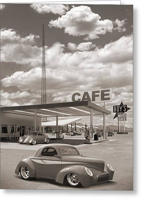 Ford Street Rod Greeting Cards - Hot Rods at Roys Gas Station Sepia Greeting Card by Mike McGlothlen