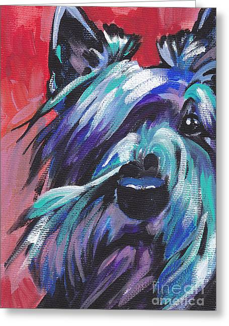 Scottish Terrier Greeting Cards - Hot Scot Greeting Card by Lea