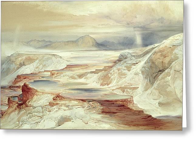 Hot Springs Of Gardiner's River, Yellowstone Greeting Card by Thomas Moran