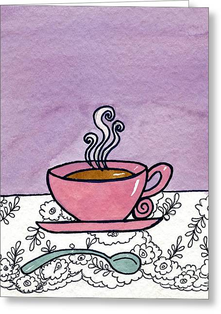 Appleton Art Greeting Cards - Hot Tea Greeting Card by Norma Appleton